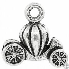 10 Tibetan Silver 3d Pumpkin Carriage Pendant Charms Halloween Gothic
