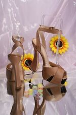 Isabelle 188 Beige Leather Ankle Strap Platform Sandals 36 / US 6