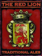 THE RED LION TRADITIONAL ALES VINTAGE RETRO,PUB SIGN LARGE STEEL WALL PLAQUE TIN