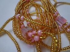 Sexy African Waist Beads - Gold and Pink 3-in-1 Beads 45'' long inches long