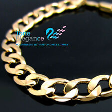 18k yellow gold GF womens mens solid chain Necklace curb ring link