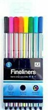 8 Fineliner Pens Smooth Writing School Office Stationery Bright Colouring Pen
