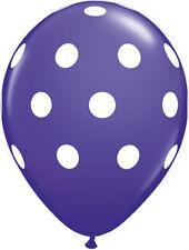 "10 pc - 11"" Qualatex Big Polka Dot Purple Violet Latex Balloon Party Decoration"