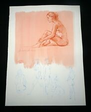 Hawaii Mixed Media Wash Painting Seated Female Nude Snowden Hodges (Sho)#113