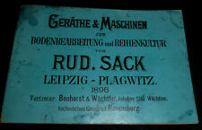 Katalog 1896 Geräte Maschinen Bodenbearbeitung Reihenkultur R.Sack Landmaschine