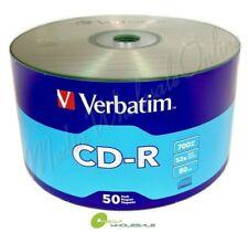 100 VERBATIM Blank 52X CD-R CDR Branded Logo 700MB Media Disc