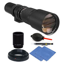 Bower 500mm / 1000mm f/8 Telephoto Lens for Canon EOS 80D 70D 60D + 2X Converter