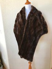 Vintage William H. Ball Mahogany Brown Mink Stole Fur Wrap Cape Excellent