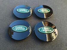 NEW 4PC SET OF 4 LAND RANGE ROVER BLACK & GREEN CENTER WHEEL HUB CAPS LOGO RIMS