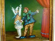 """27"""" William Moninet TWO CLOWNS Opera Theatre STAGE CURTAIN Framed OIL PAINTING"""