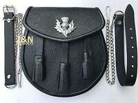 3 Tassels & Thistle Scottish Kilt Sporran, Real Black Cowhide Leather + Belt