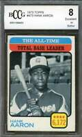 Hank Aaron Card 1973 Topps #473 All-Time Tb Leader Atlanta Braves BGS BCCG 8