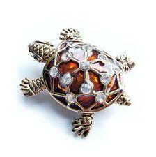 New Gold Tone Brown Enamel Crystal Turtle Tortoise Brooch in Gift Box