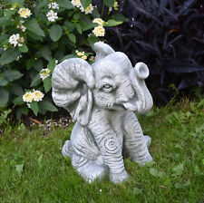 Lustiger Elefant Tierfigur Stein-Elefant Gartendeko aus Steinguss frostfest