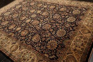 "8'9"" x 11'10"" Hand Knotted 100% Wool indian Saroukk 250 KPSI Area Rug Black 9x12"