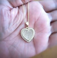 1 Ct Diamond Pendant Womens Necklace Heart Shape in 14K Yellow Gold over Chain