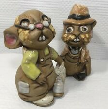 2 Vtg Folk Art Usa Pottery 4� Tall Mice Mouse Hamster Rodent Dressed Up 302