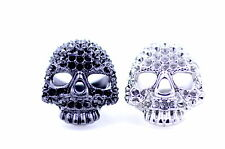 Punk style chunky black / silver coloured skull ring, multiple choices