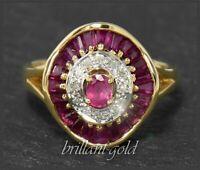 Rubin & Diamant Damen Cocktail Ring mit 1,60ct, 750 Gold 18 Karat, Antik um 1930
