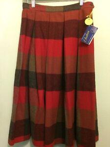 Waist 31\u201d Red Plaid Skirt Long Maxi Red /& Black NWT Scottish Tartan Fringe Wool Rafaella Woman/'s Size 10 Vintage