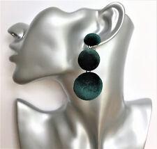 Stunning Dark Green Velvet Pom Pom Dangle Drop Earrings