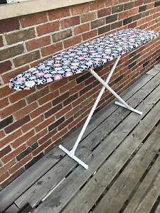 Vintage USA Made White Metal Ironing Board W/ 2 Beautiful Covers Original & hand