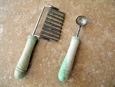 Vintage Cheese / Potato Slicer Wavy & Small Melon Ball Scoop Green Wood Handle