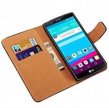 Per LG G4 H815 custodia  in pelle a portafoglio nero flip case cover