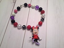 bubblegum chunky bead necklace toddler girl minnie mouse red disney US SELLER