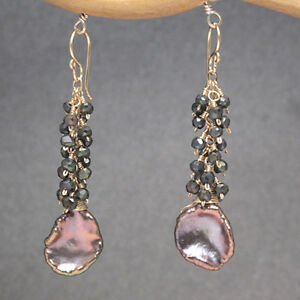 Maldives 213 ~Spinel Cluster & Ebony Peacock Keshi Pearl Earrings, Metal Choice