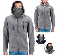 Men's Activewear Fleece Lined Ninja Mask Zip Up Gym Sport Hoodie Sweater Jacket