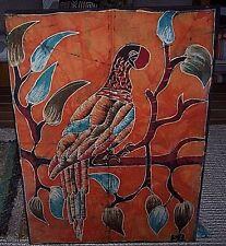 Batik Fabric Painting Toucan Parrot Vibrant Colors Stretcher Framed Signed 26x36