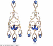 blue/ clear   crystal/rhinestone bridal/ prom   evening  dangle   earring Be15