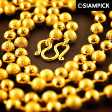 "SALE 24"" 24K Thai Gold Plating Round Bead Ball Chian Necklace Handmade Jewelry"