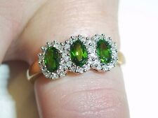 NEW VINTAGE QVC 9CT GOLD RUSSIAN DIOPSIDE AND DIAMOND RING SIZE T US 9 3/4