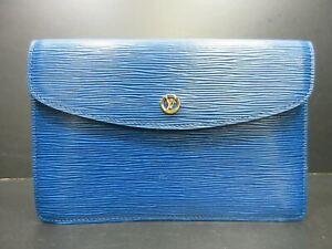 Authentic LOUIS VUITTON Epi Montaigne 27 M52655 Clutch Bag Blue Leather 90193