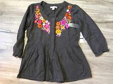 NWT RXB FLORAL EMBROIDERED FLARED 3/4 SLEEVES CARDIGAN L LARGE BROWN   SFS
