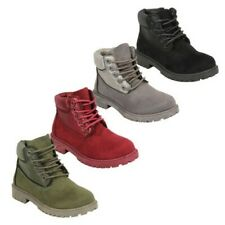 Girls Suede Look Boots Toddlers High Ankle Lace Up Zip Casual Winter Fashion New