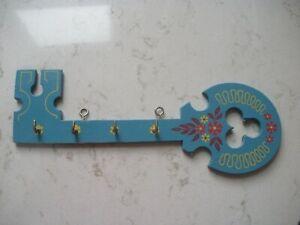 vintage Swedish wall key holder hanger blue painted flowers Sweden DARLING