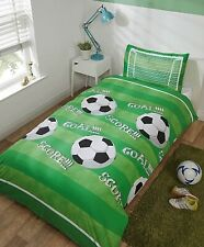 Football Shoot Goal Soccer Kids Boys Single Duvet Quilt Cover Bedding Set Green