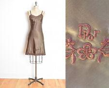 vintage 80s slip CHRISTIAN DIOR brown satin embroidered lingerie dress XS