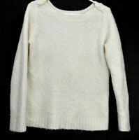 Merona Women Large Wool Blend Button Boat Neck Long Sleeve Sweater Cream Ivory