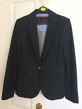 Zara Green Check Wool Mix Blazer Jacket Coat Real Suede Elbow Patches Sz S