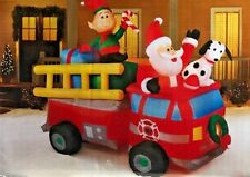 RARE NEW 7 FT LONG CHRISTMAS SANTA CLAUS FIRE TRUCK WITH ELF INFLATABLE BY GEMMY