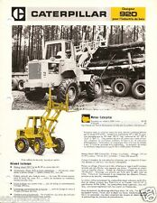 Equipment Brochure - Caterpillar - 920 - Log Loader Logging - French (E1834)