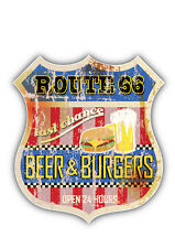 Route 66 Beer Emblem Car Bumper Sticker Decal 4'' x 5''