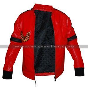 Red Burt Reynolds Smokey and the Bandit Men's Motorbike Bomber Leather Jacket