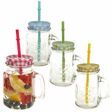 500ml Glass Drinking Cup With Handle & Straw Glasses Mason Jar Colour Lids Retro