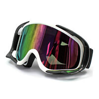 White Frame Unisex Men Adult Wind UV Ski Snow Snowboard GOGGLES Skiing Glasses