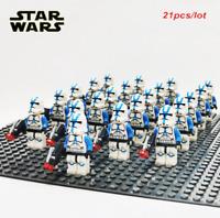 21Pcs Minifigures Star Wars Blue Clone Trooper 501st Clone Army Trooper FIT Lego